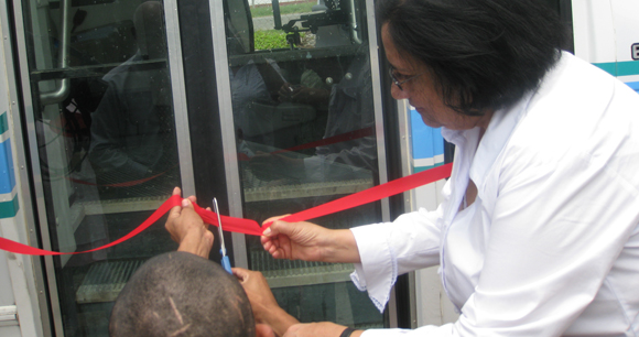 Wheelchair Bus - Cutting the ribbon